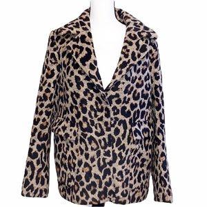 H&M Leopard Print faux fur winter Coat Large
